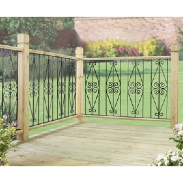 ASCOT DECK PANELS 2 PACK ZINC & POWDER BLACK.Solid Metal deck / fence infill panels, easily screws between upper and lower wooden frames, (not included). Pack of 2 panels to form a run of 560mm. Each panel is 280mm wide x 770mm high. Zinc plated for added