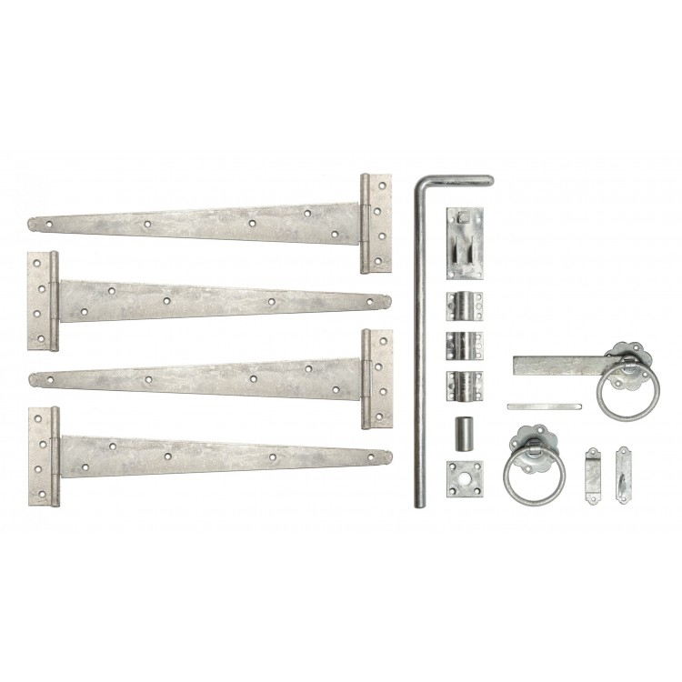 """DOUBLE FITTINGS GALV 18"""" T-HINGE+LATCH+DROP BOLT"""
