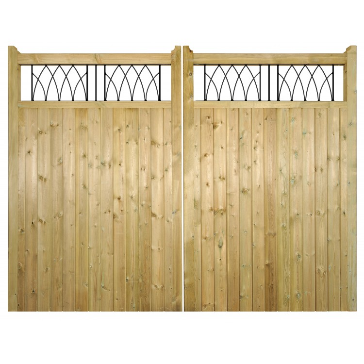 WINDSOR WOODEN TALL DRIVEWAY GATE 1800MM HIGH X 3600MM WIDE