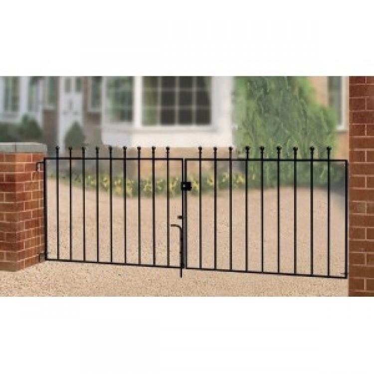 MANOR FLAT TOP DOUBLE GATE 3' HIGH X 12' GAP ZINC POWDER