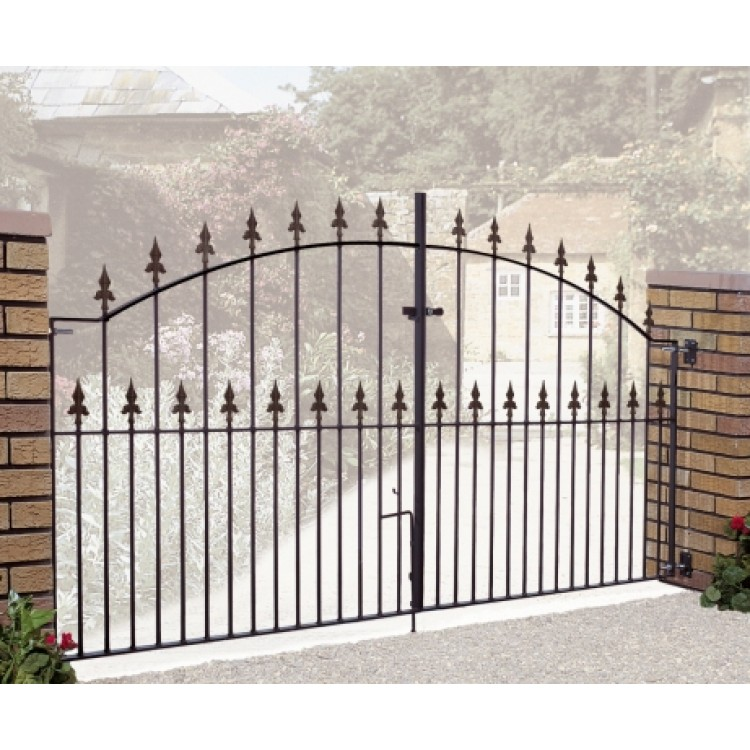 "SAXON ARCHED DOUBLE GATE 48"" HIGH X 9' GAP ZINC POWDER"