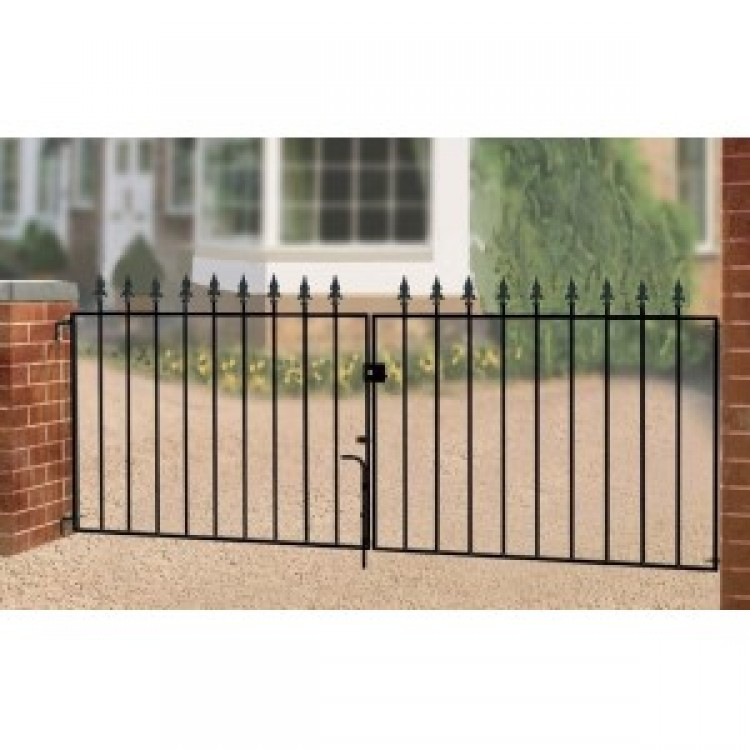 "SAXON FLAT DOUBLE GATE 37.5"" HIGH X 12' GAP ZINC POWDER"